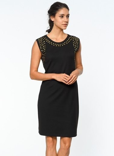 Yaka Detaylı Kolsuz Elbise-Utopian